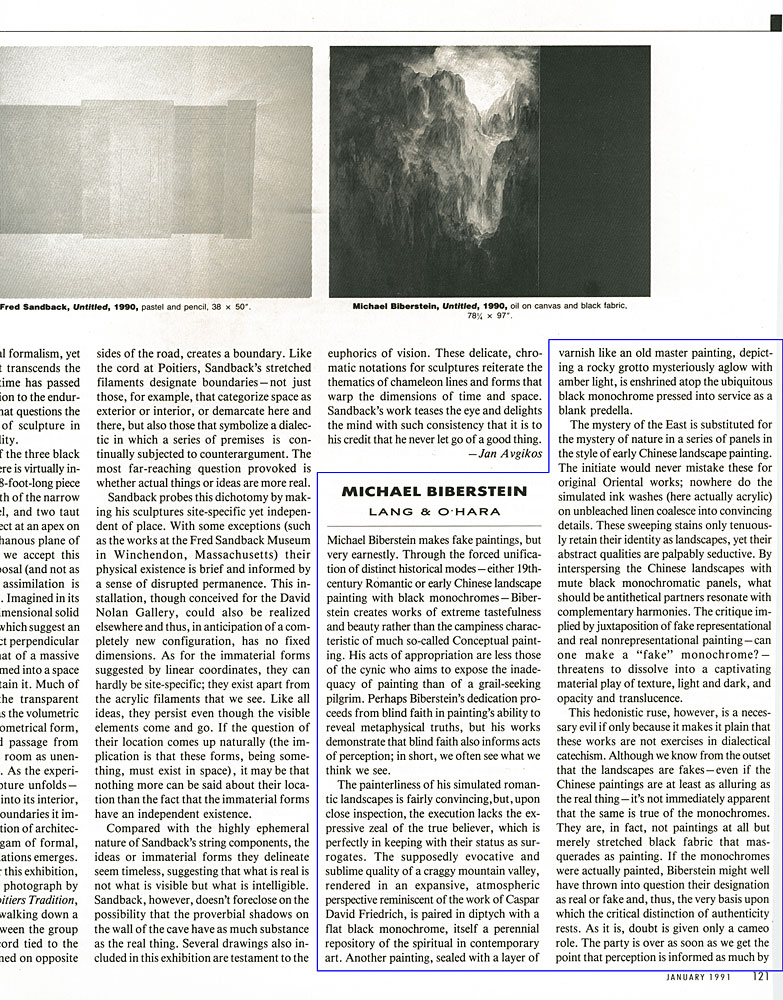 Artforum, January, 1991