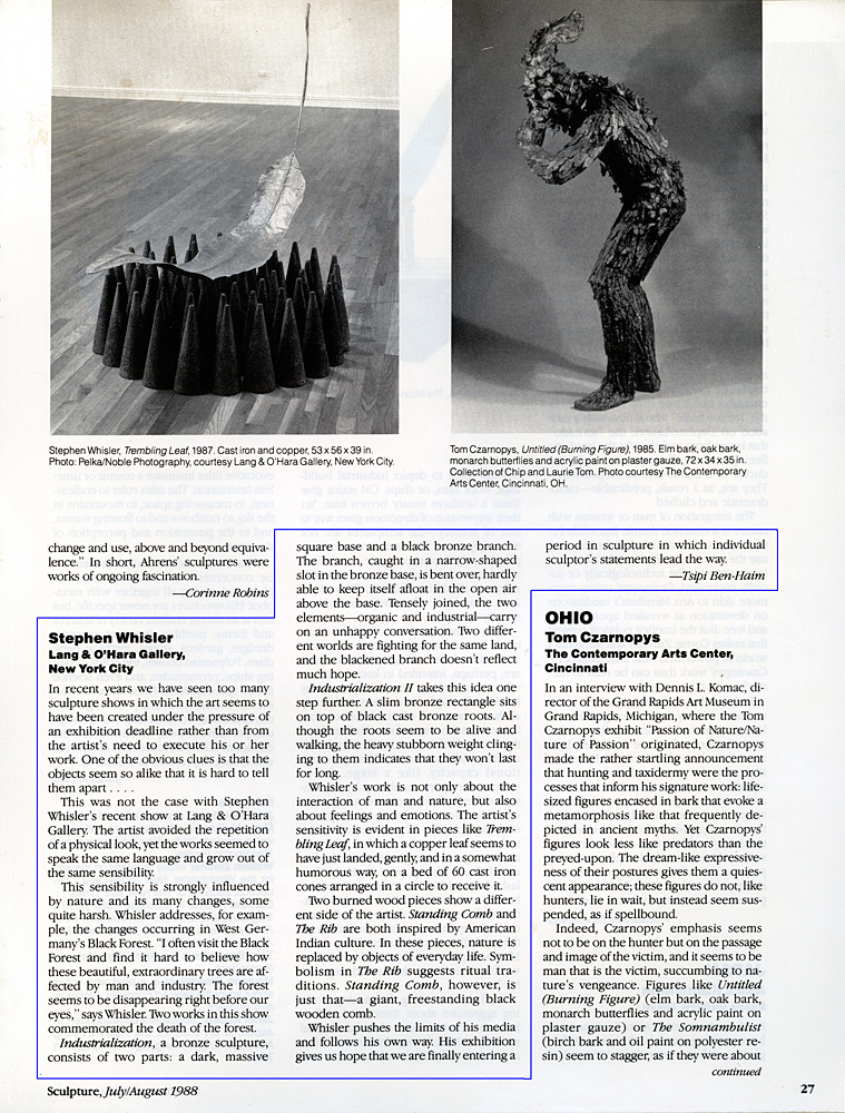 Sculpture, July/August, 1988